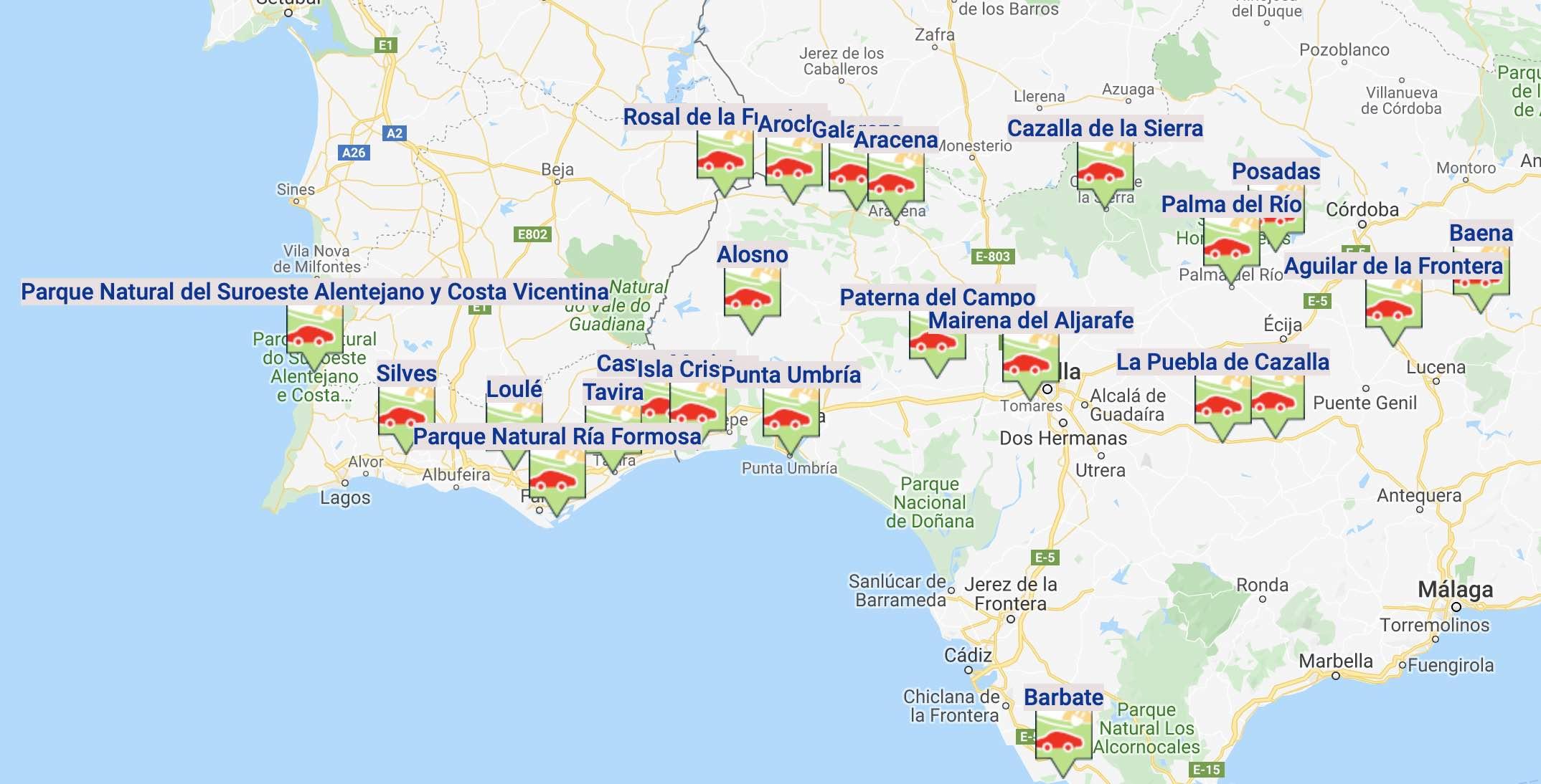 Itinerarios verdes y rutas turísticas para coches eléctricos entre el Algarve y Andalucía
